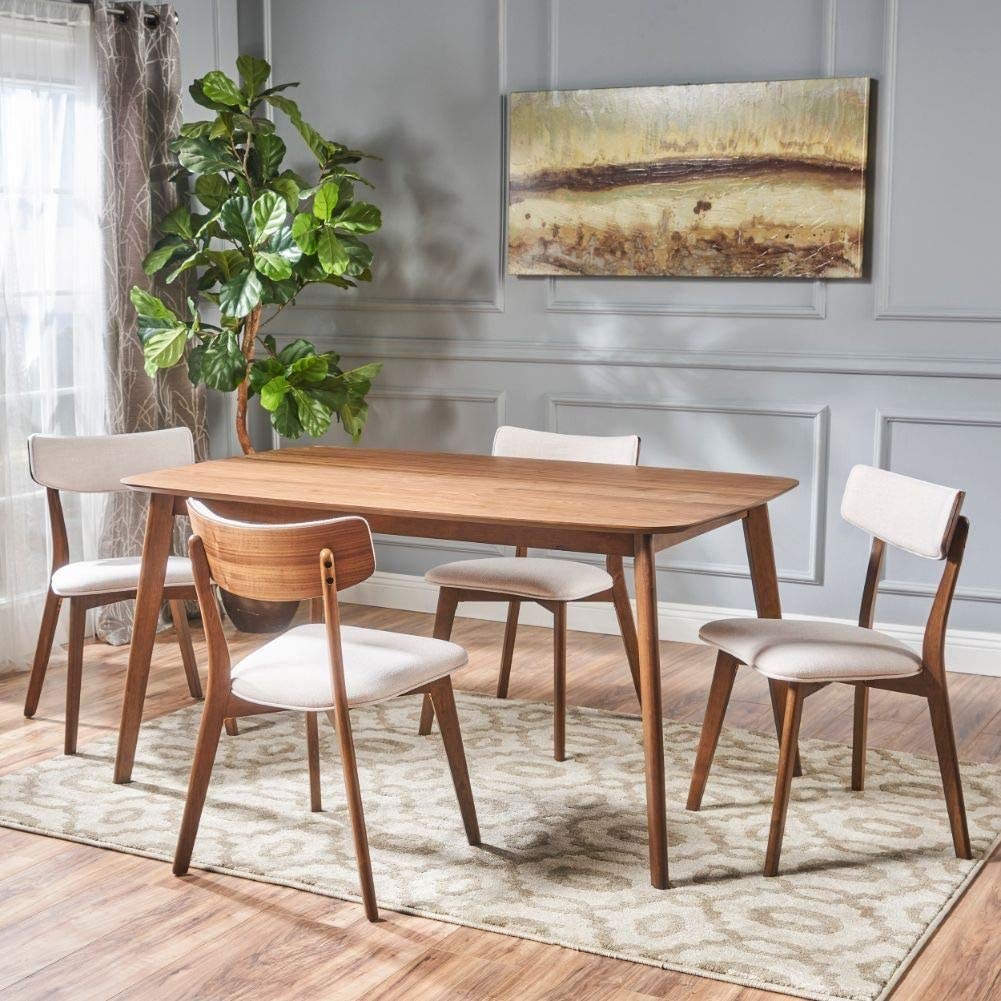 Natural walnut five-piece wood dining set