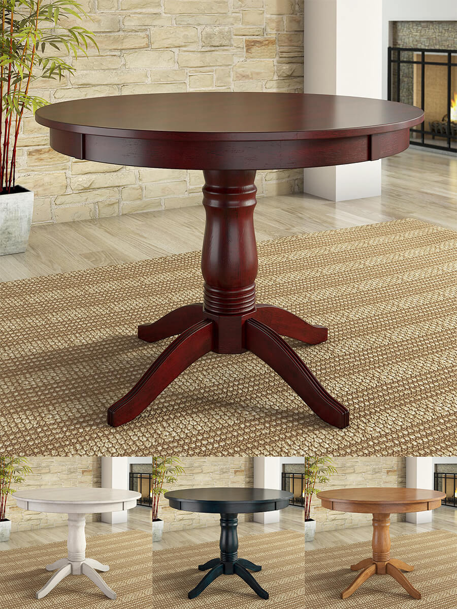 Round hardwood wood pedestal base dining table