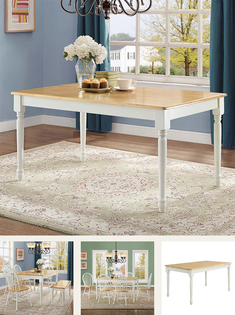 White and natural modern farmhouse dining table