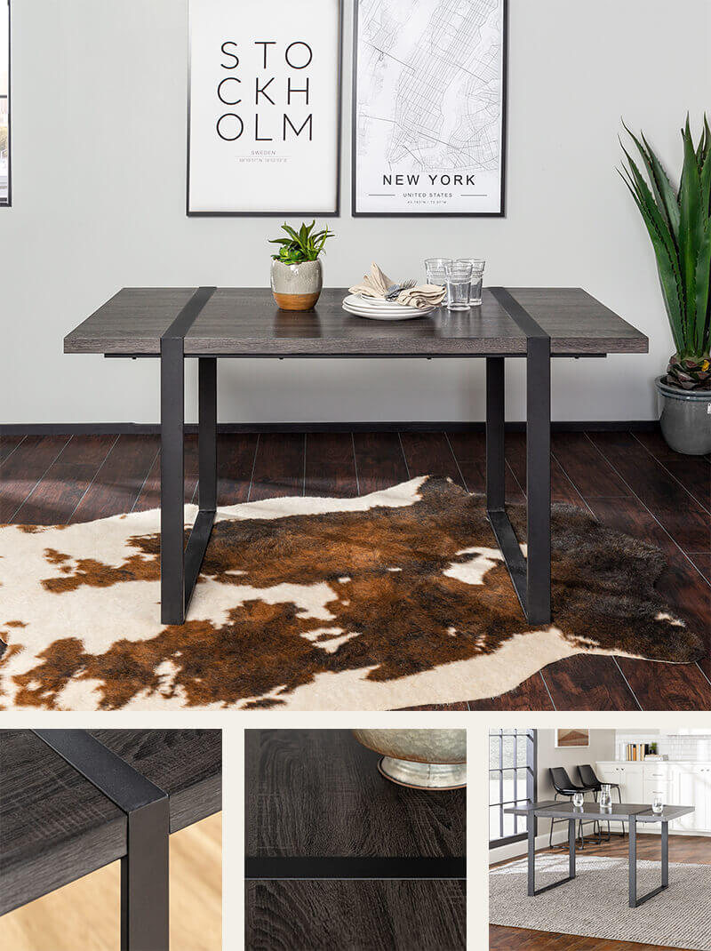 Wood dining table wrap-around metal legs