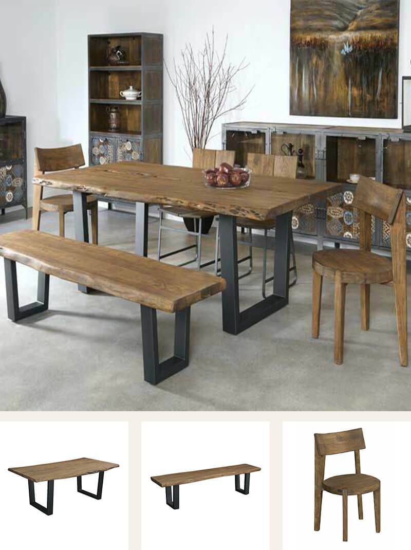 Hardwood acacia six-piece dining table set