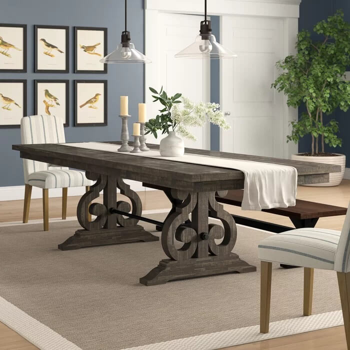 Rubberwood extendable dining table