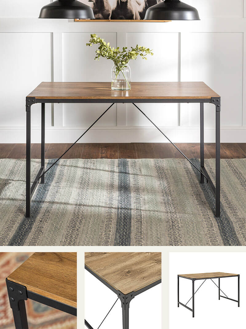 Rustic metal and wood dining table