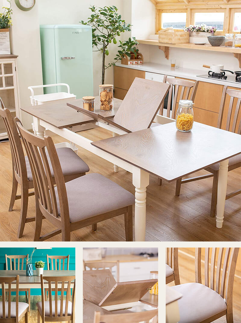 Extendable oak solid wood farmhouse style dining table
