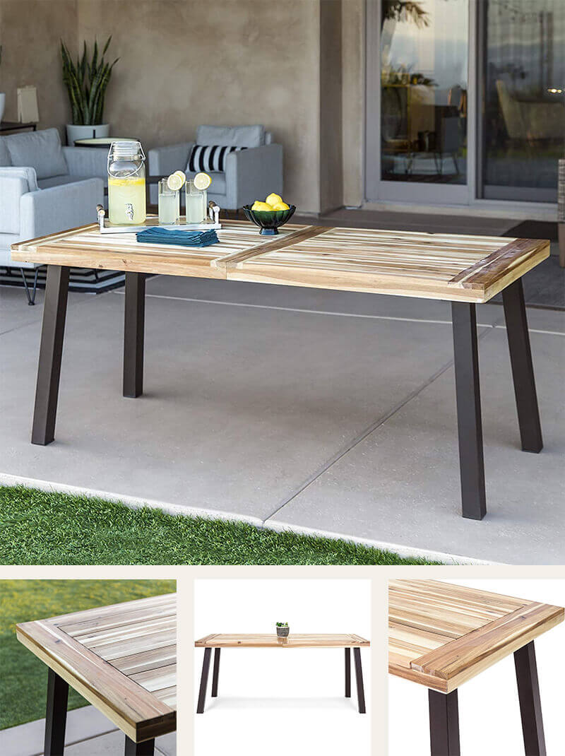 Indoor & Outdoor Wood Dining Table With Metal Legs
