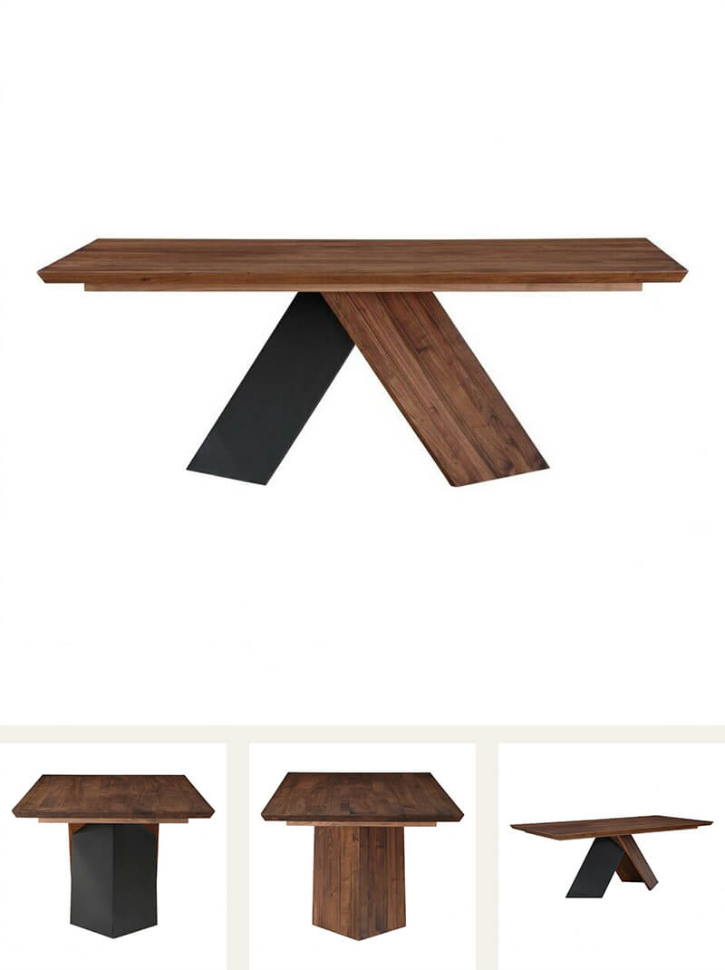 Modern Wood Metal Dining Table