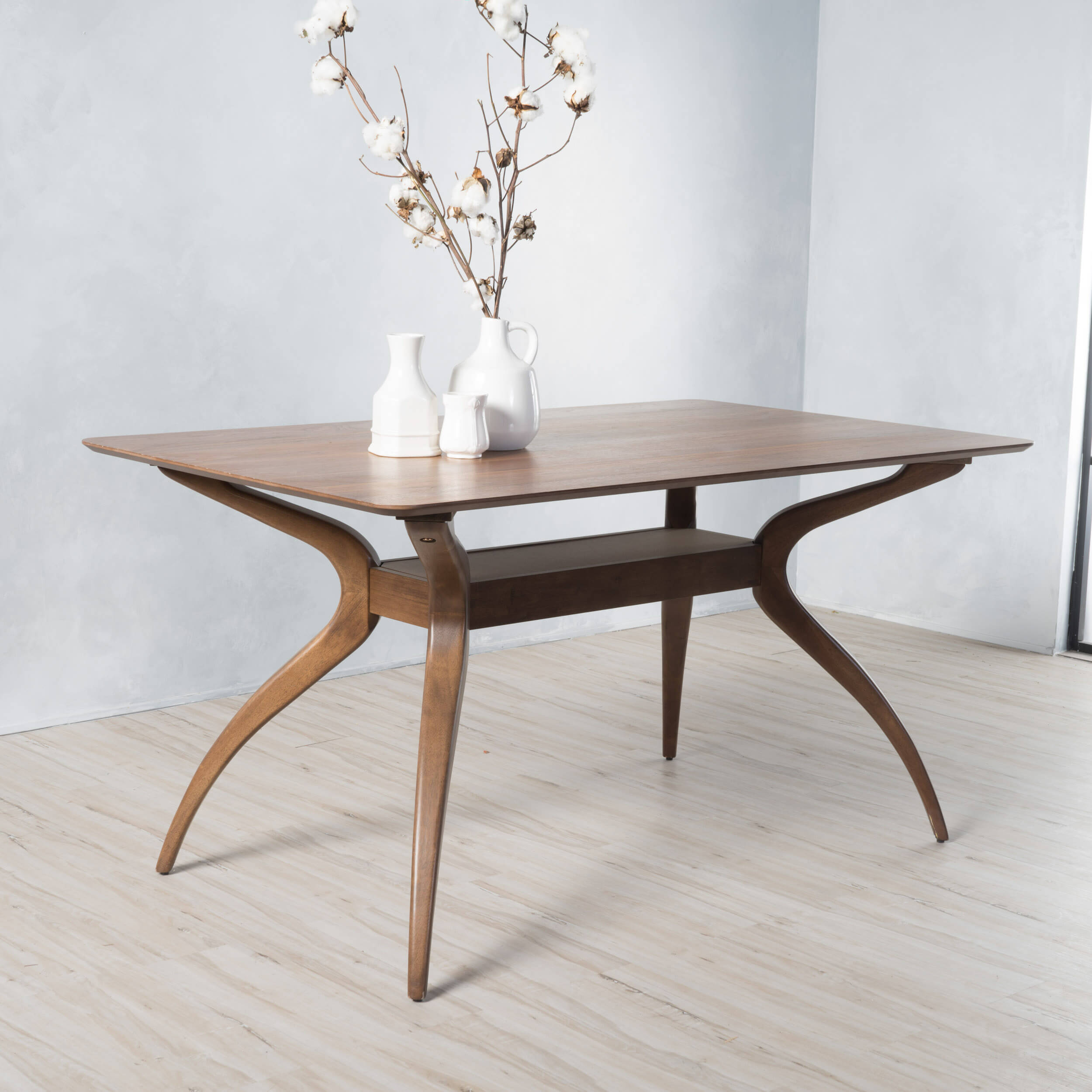 Natural walnut finish hardwood dining table