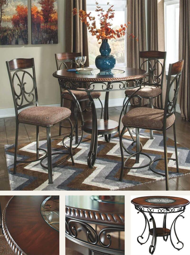 Round Wood and Metal Dining Table