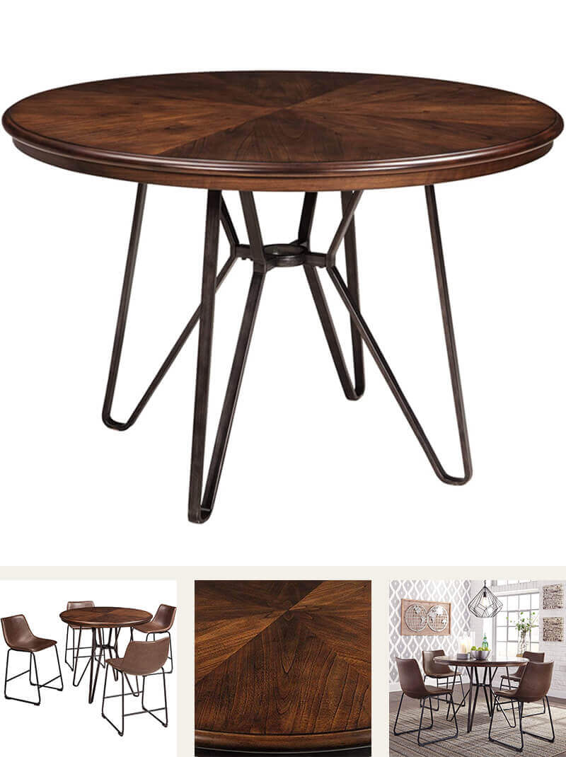 Mid Century Modern Style - Round Wood and Metal Dining Table