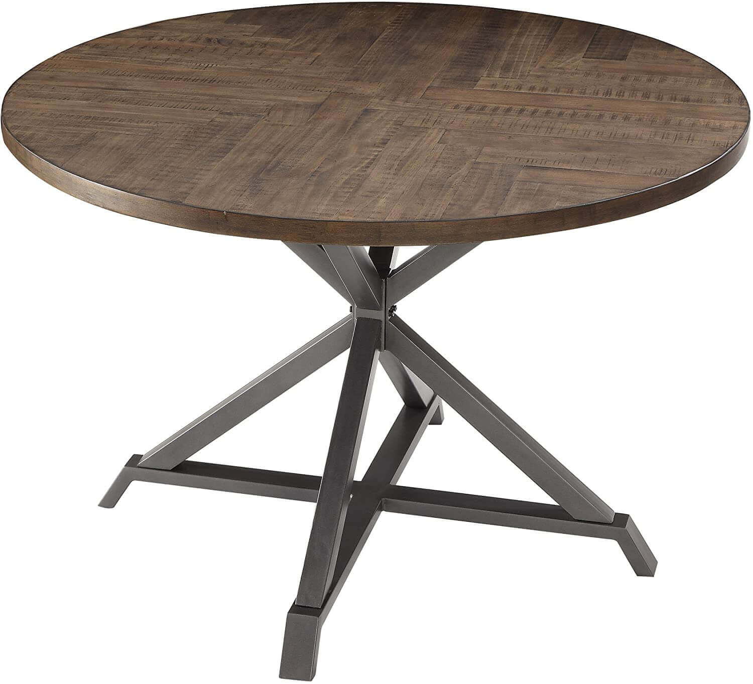 Industrial Style Round Metal and Wood Dining Table