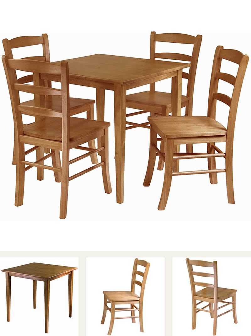 Light oak finish wood dining set