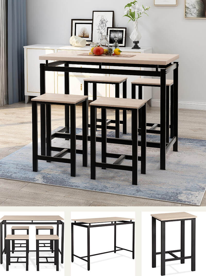Metal and wood dining set with 4 bar stools
