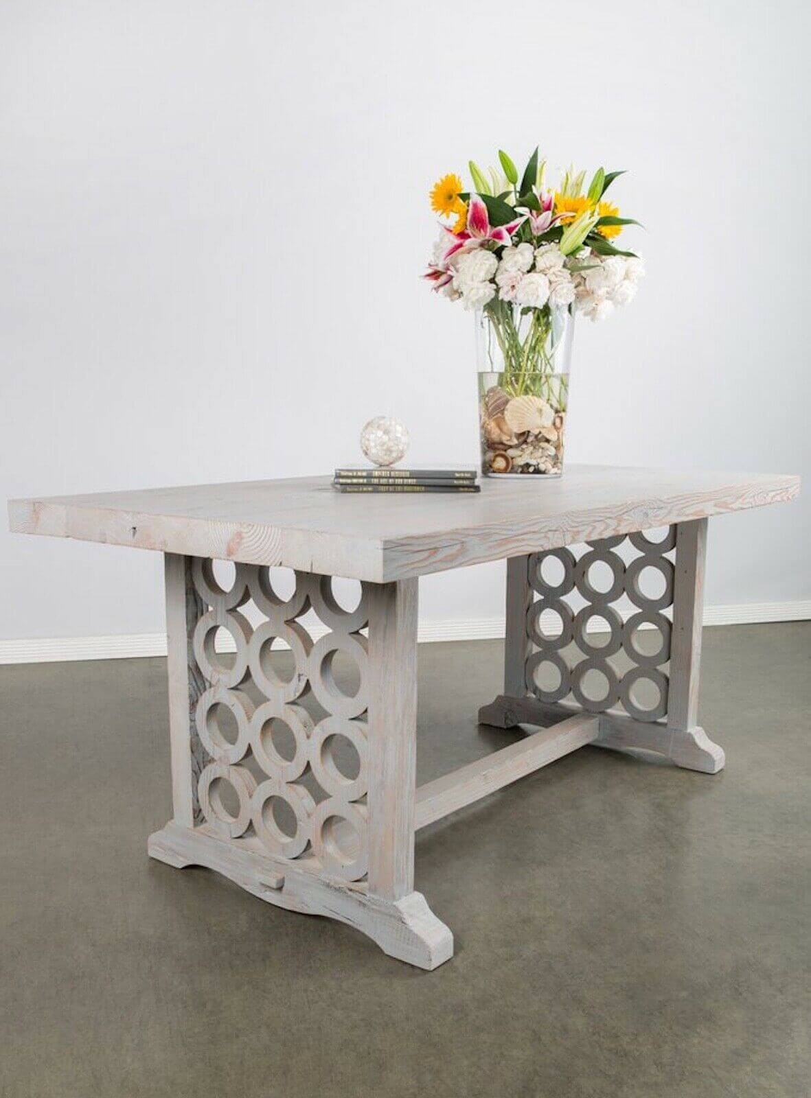 Double-pedestal transitional farmhouse dining table