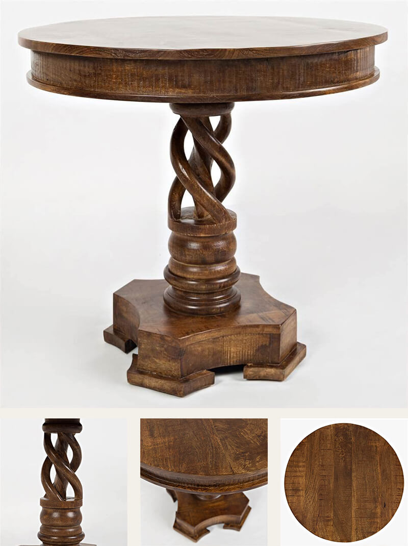 Hand Carved Solid Mango Wood Pedestal Dining Table