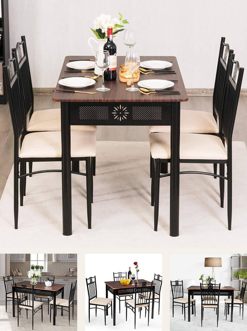 Wood Top Metal Frame Dining Room Table