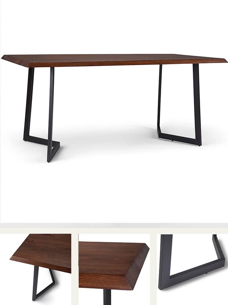 Industrial Contemporary Dining Table with Inverted Metal Base