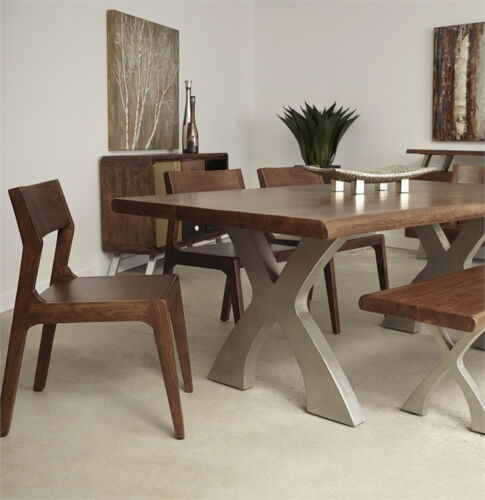 Walnut finish handcrafted dining table