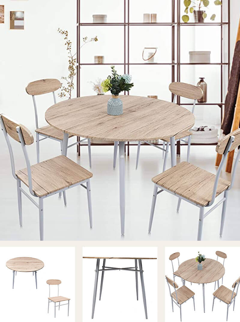 Wood and Metal Round Dining Table Set