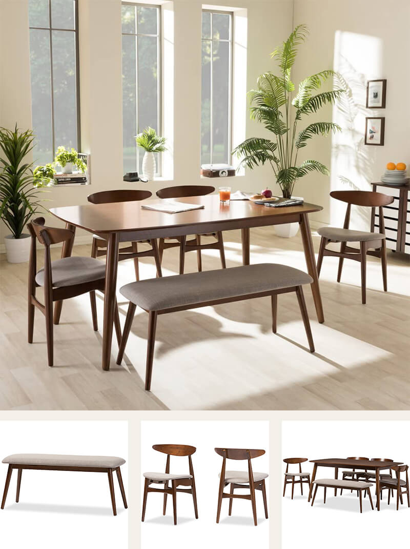 Rubberwood mid-century wood dining set