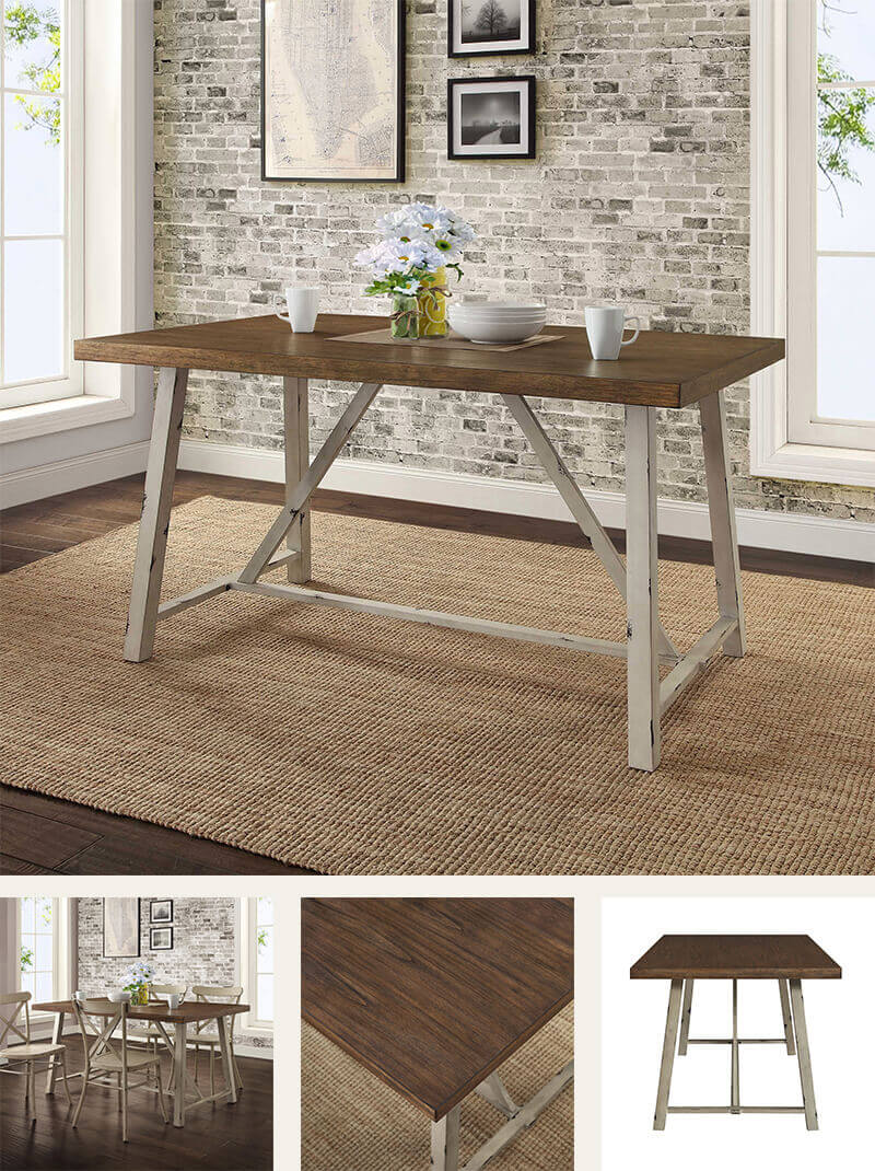 Whitewood & Metal Table Base for a Rustic Industrial Look