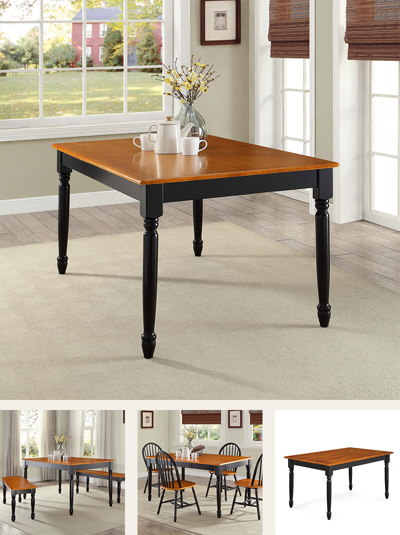 Farmhouse hardwood dining table, black, and oak