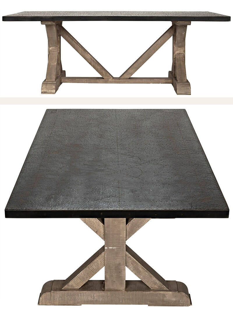 Hammered Zinc and Wood Dining Table