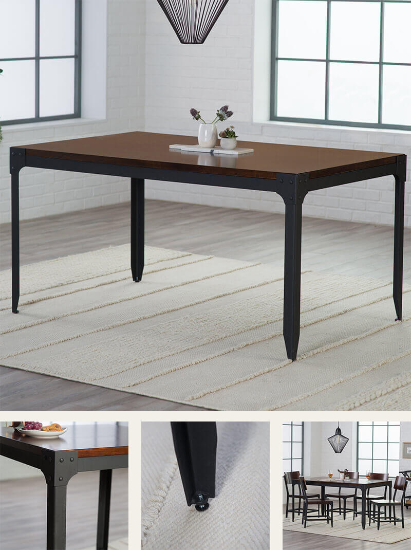 Wood Top Metal Base Dining Table