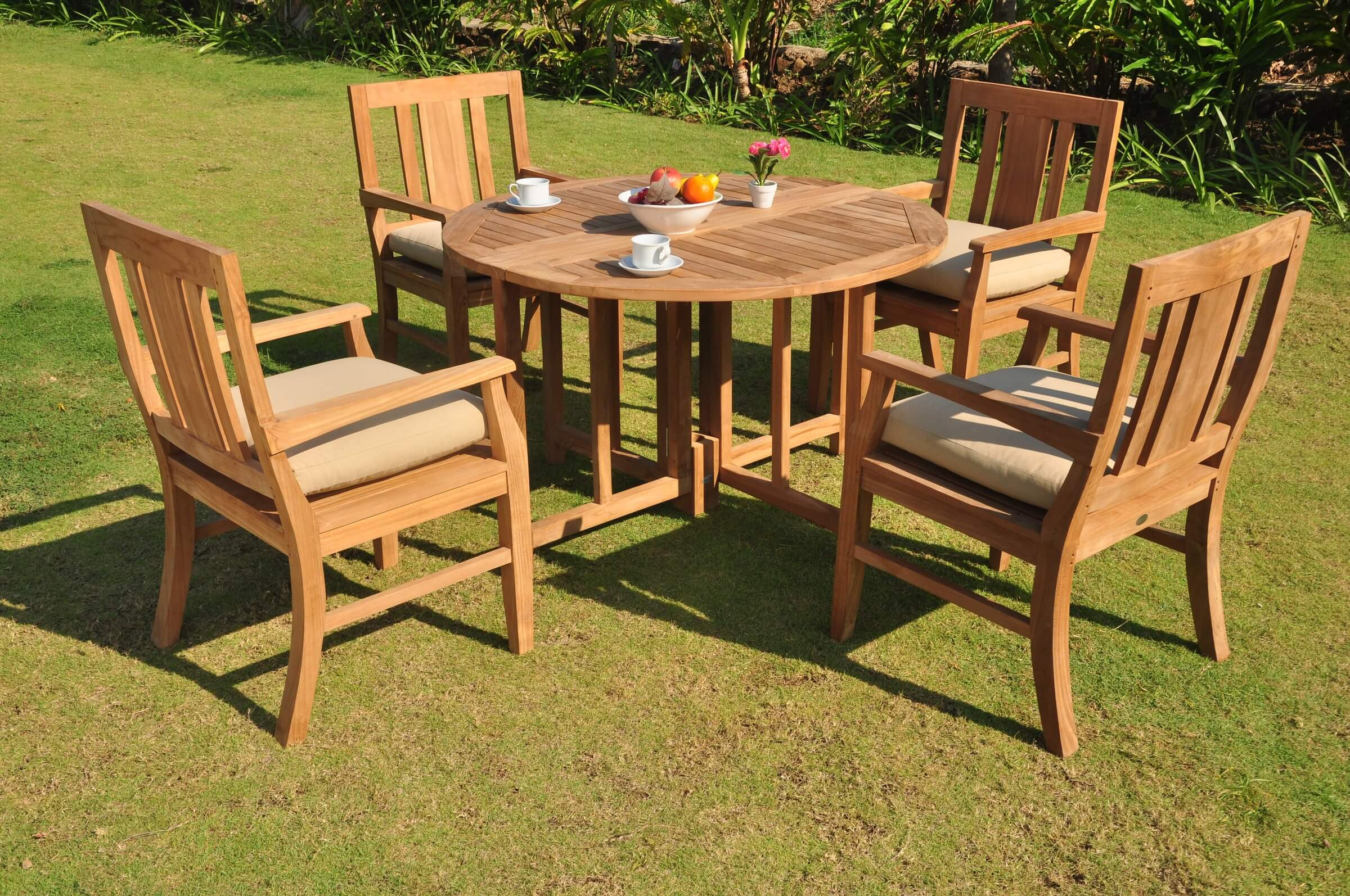 Teak Round Butterfly Dining Table Outdoor Patio