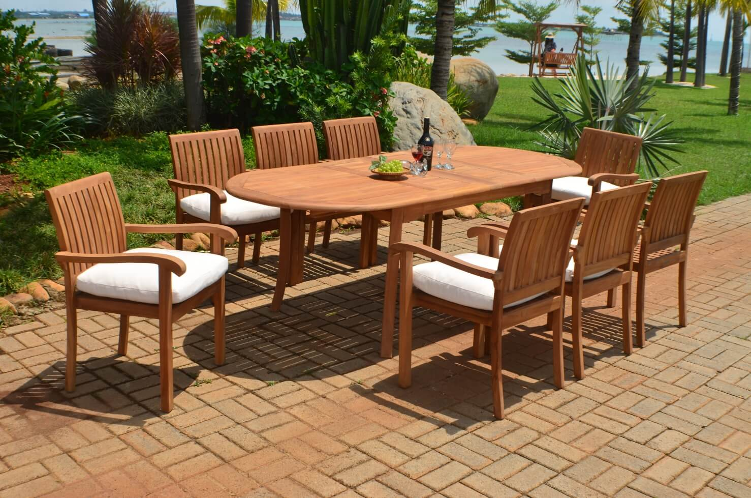 Double Extension Teak Oval Outdoor Patio Dining Table