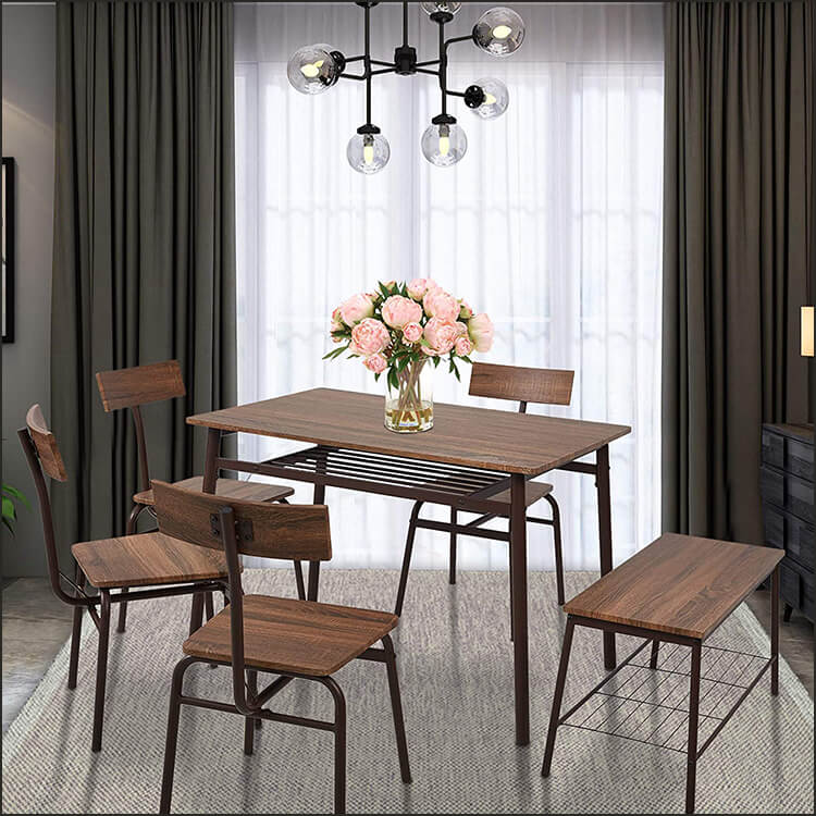 6 Piece Dining Room Table Set with Bench