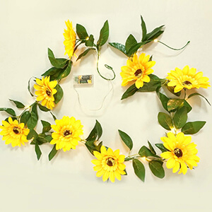LED Fairy Lights with Sunflower Garland