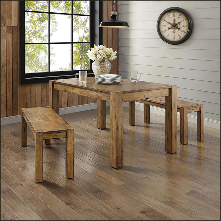 3 Piece Rustic Dining Table Bench Set