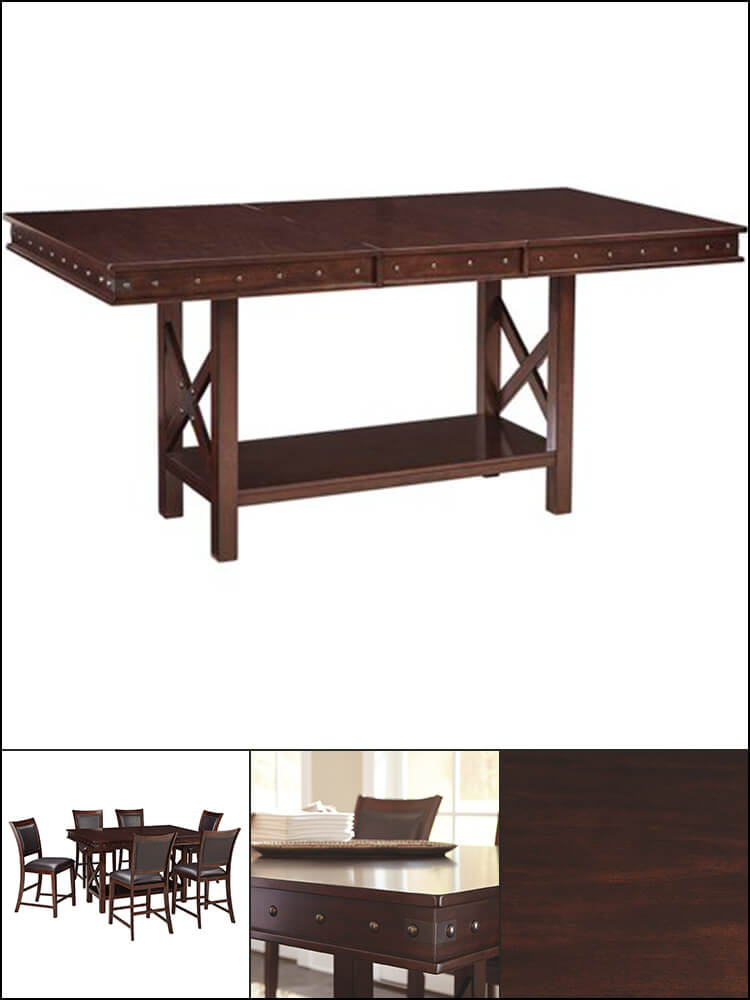 Extendable Counter Height Dining Table in Dark Brown