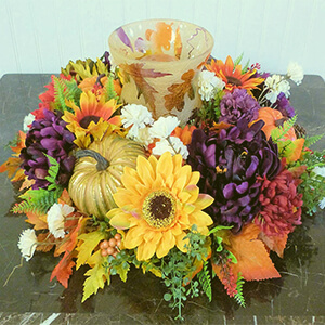 Fall Table Centerpiece with Sunflower, Pumpkins, and Mums