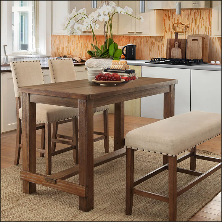 Rustic Brown Counter Height Dining Set