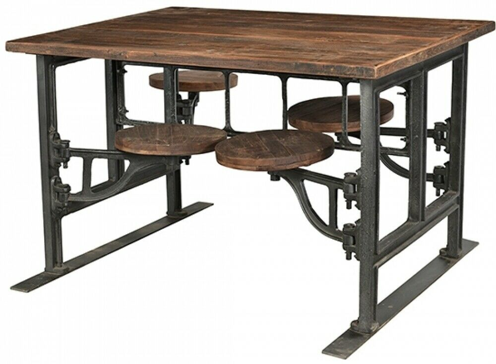 Teak Top and 4 Attached Stools Indoor Dining Table