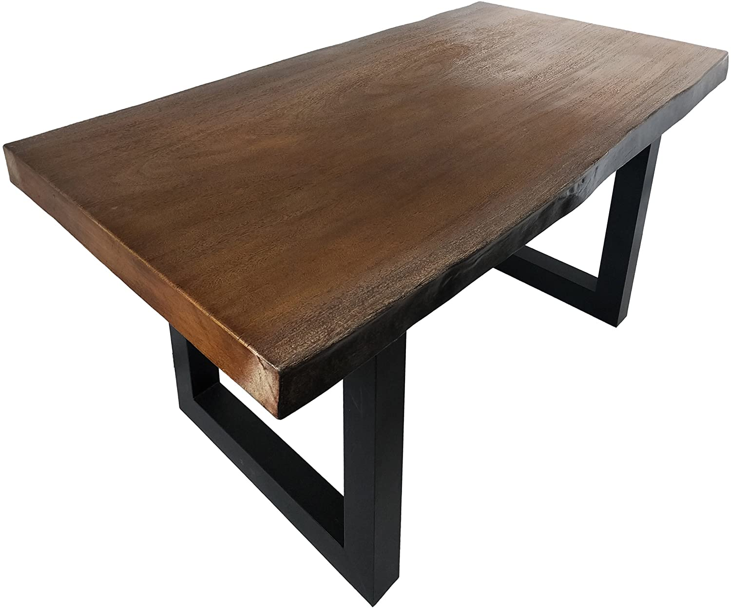 Antique Teak Finish Live Edge Dining Table