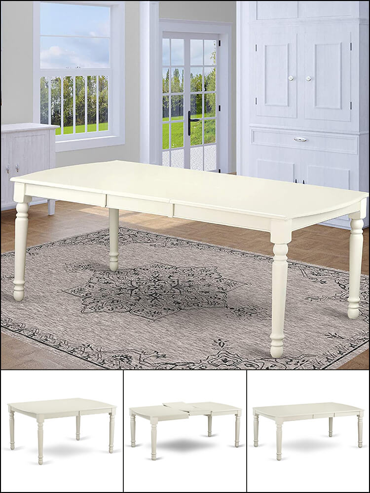 Dining Room Table with Butterfly Leaf in Linen White Finish