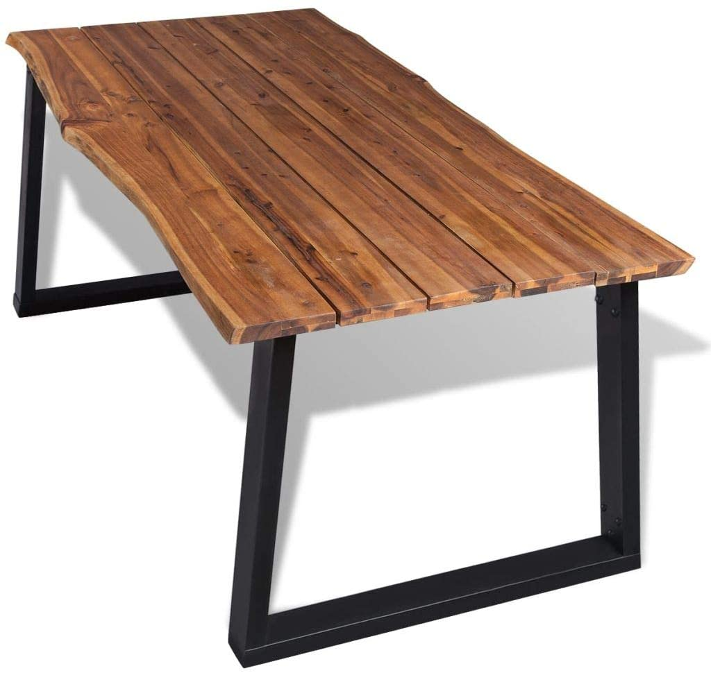 Solid Acacia Wood Industrial Live Edge Dining Table