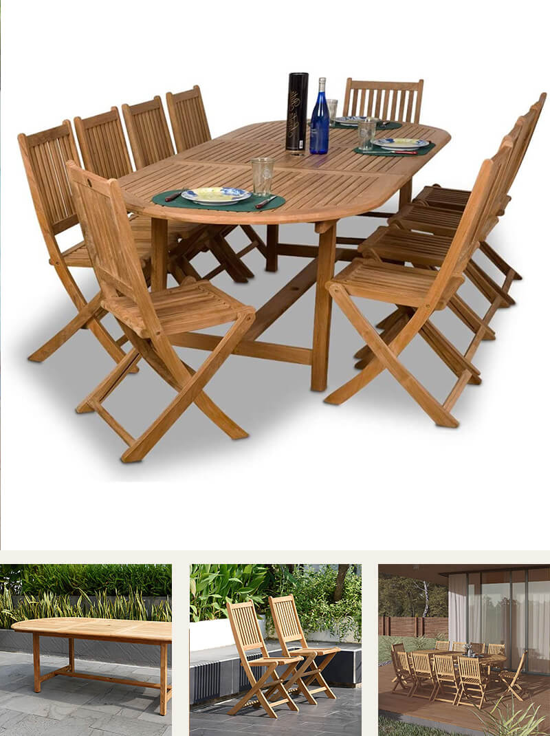 11-Piece Indoor Oval Dining table and chairs