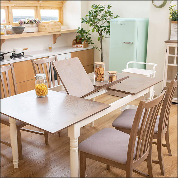 5 Piece Extendable Solid Oak Wood Dining Table