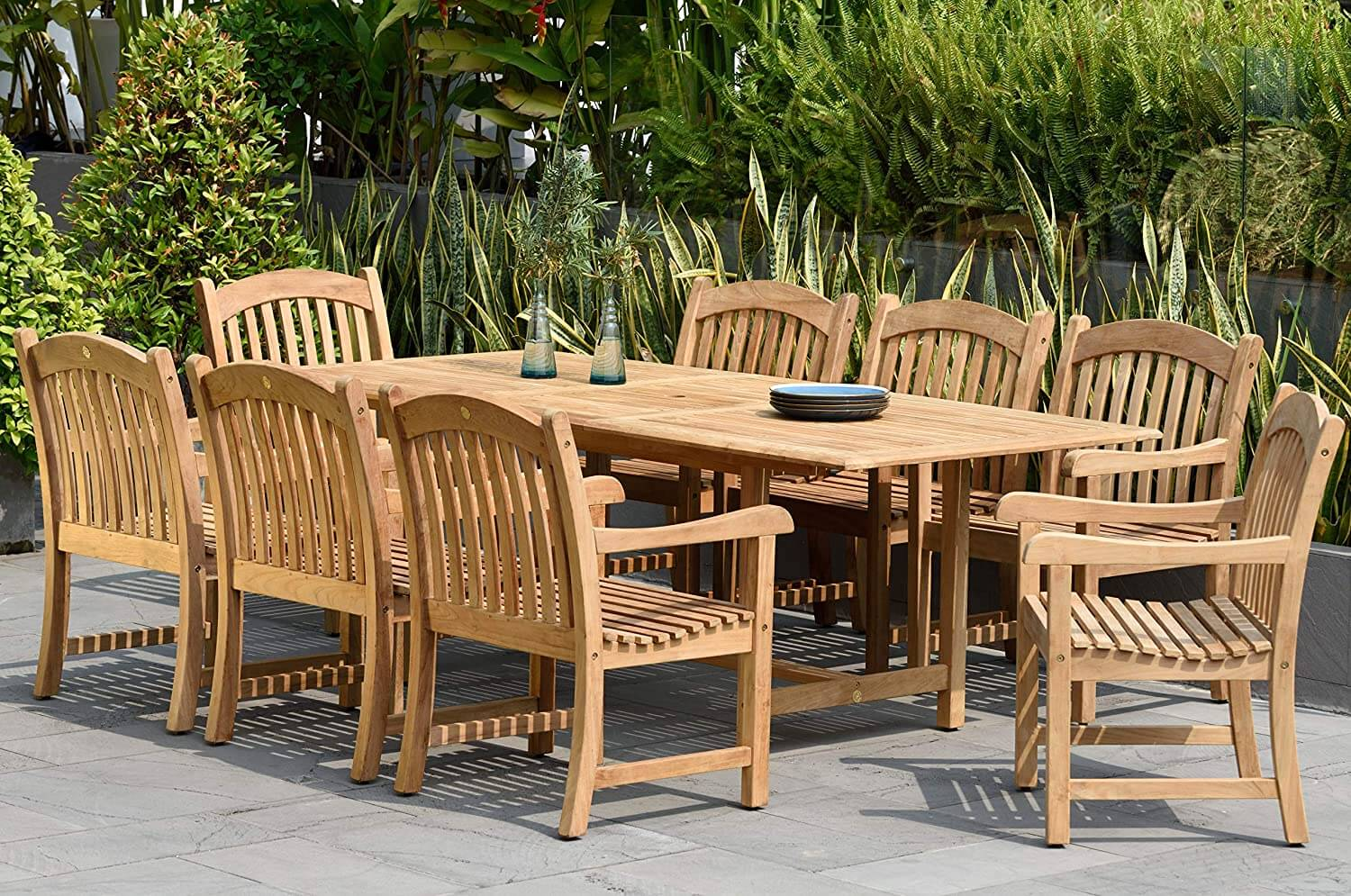 9-Piece Indoor and Outdoor Rectangular Dining Table Set