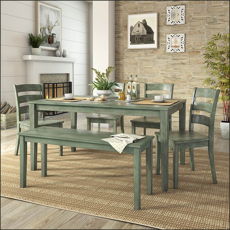 Rustic Dining Set with Bench and 4 Ladder Back Chairs