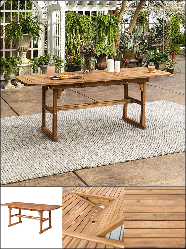 Solid Acacia Wood Patio Extendable Dining Table