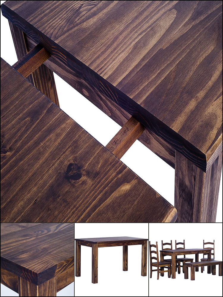 Extendable Solid Pine Wood Dining Table