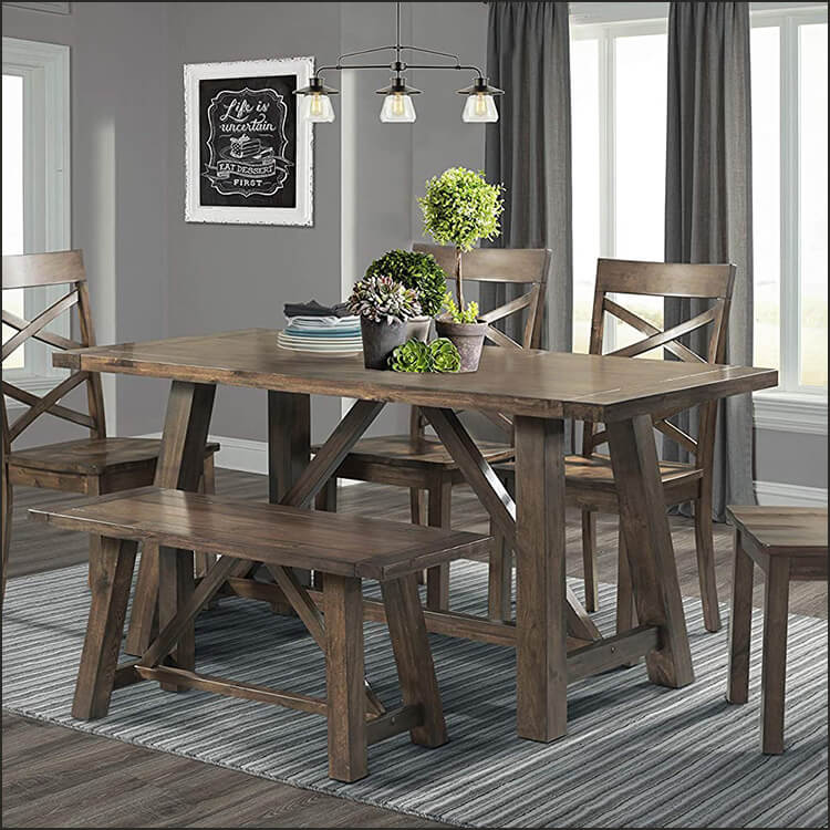 6pc Rustic Dining Set-table, 4 Side Chairs & Bench