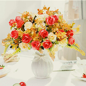 Artificial Fake Flowers with Vase