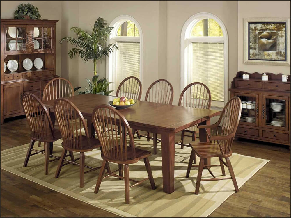Hardwood Extendable Dining Table with Leaf