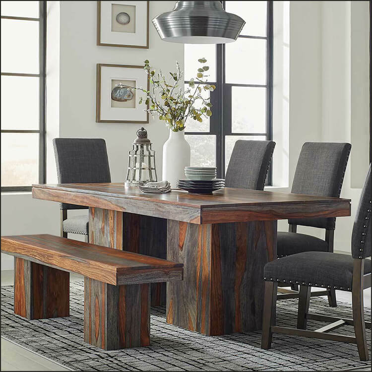 Rustic Brown 6 Piece Dining Room Set with Bench