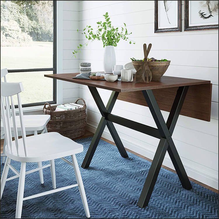 Solid Wood Drop Leaf Folding Kitchen Dining Table